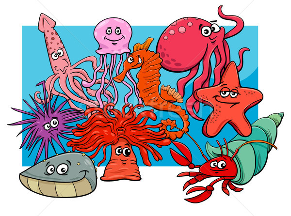 sea life group cartoon animal characters Stock photo © izakowski