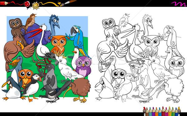 bird characters group coloring book Stock photo © izakowski