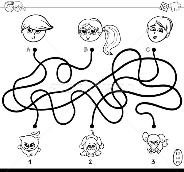 paths maze with kids and pets coloring book Stock photo © izakowski