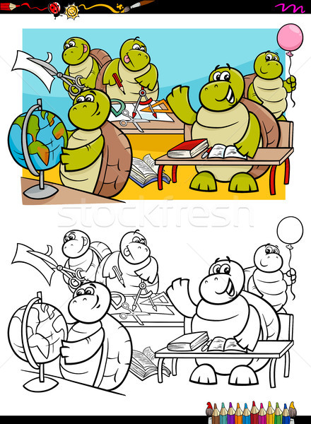 Tortues étudiant livre de coloriage cartoon illustration Photo stock © izakowski