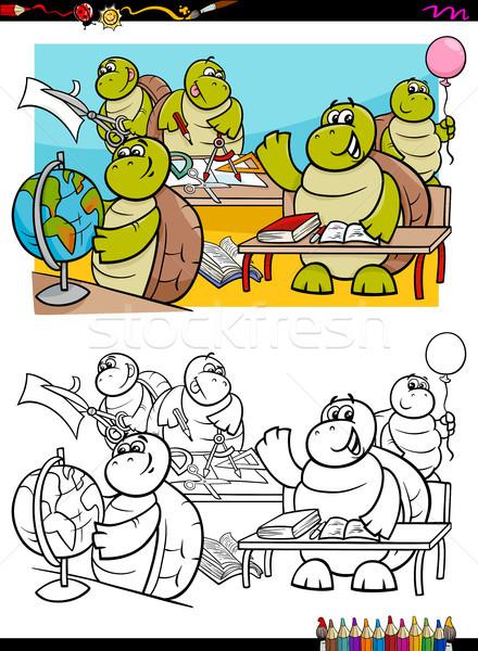 Estudante livro para colorir desenho animado ilustração Foto stock © izakowski