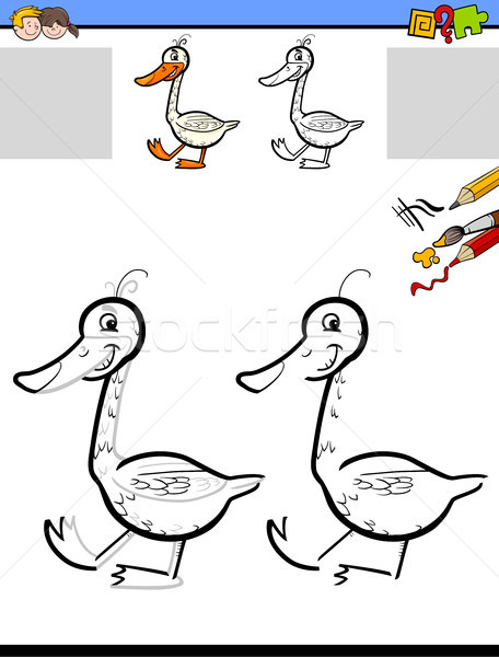 drawing and coloring worksheet with goose Stock photo © izakowski
