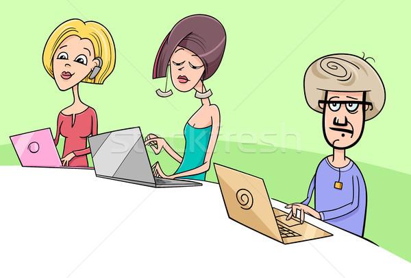 Emberek dolgoznak jegyzetfüzetek rajz illusztráció notebook számítógépek Stock fotó © izakowski
