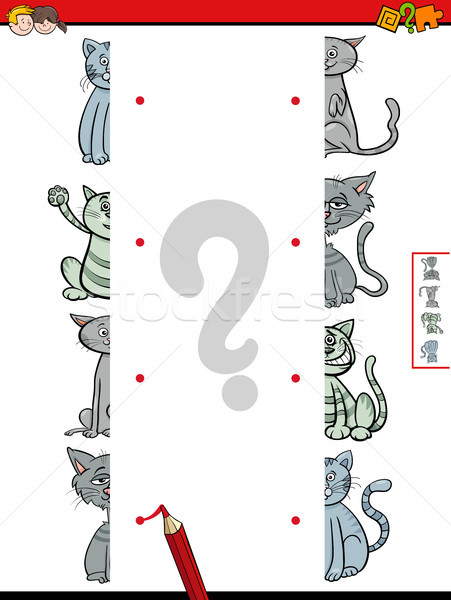 match halves of cats educational game Stock photo © izakowski