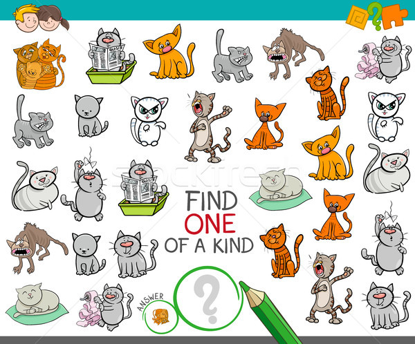 find one of a kind game with cat characters Stock photo © izakowski