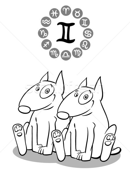 cartoon dog as Gemini Zodiac sign Stock photo © izakowski