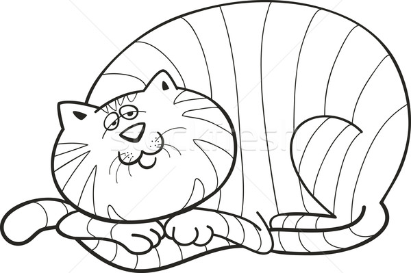 Stock Photo Vector Illustration Of Happy Fat Cat For Coloring Book