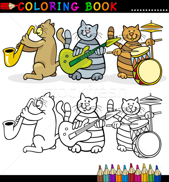 Cats Band for Coloring Book or Page Stock photo © izakowski
