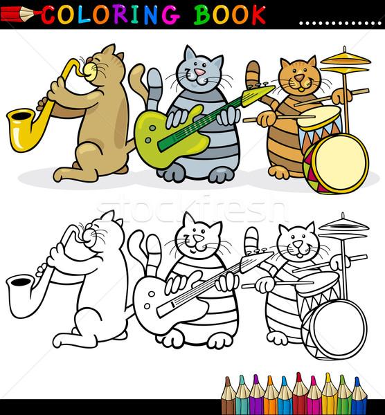 Kediler Bant Boyama Kitabi Sayfa Karikatur Ornek