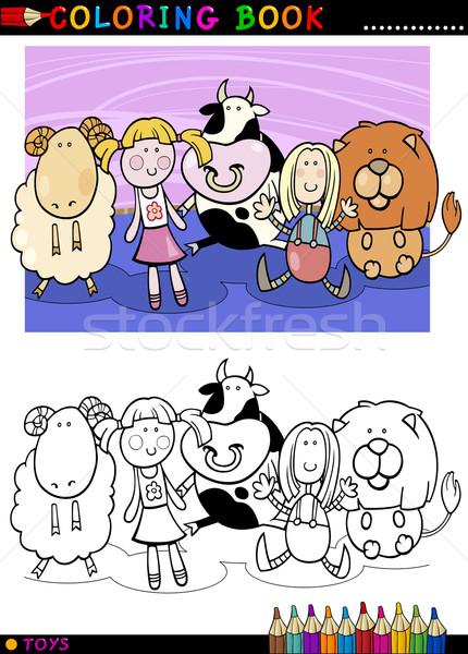 Сток-фото: Cartoon · Cute · игрушками · книжка-раскраска · страница · иллюстрация