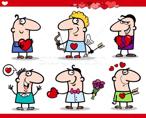 Sevgililer günü karikatür örnek mutlu erkekler Stok fotoğraf © izakowski