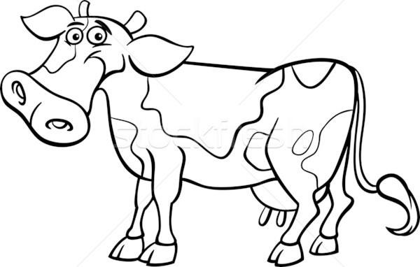 farm cow cartoon for coloring book Stock photo © izakowski