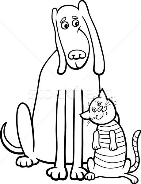 Kopek Kedi Karikatur Boyama Kitabi Siyah Beyaz Ornek