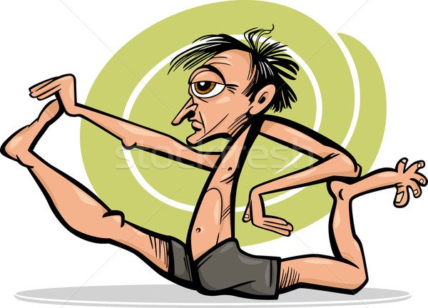 man in yoga asana cartoon illustration Stock photo © izakowski