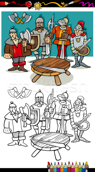 knights of the round table coloring page Stock photo © izakowski