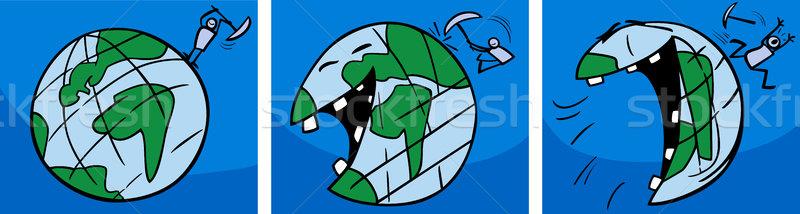 laughing earth planet comic story Stock photo © izakowski