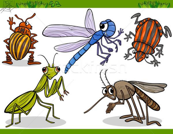Boldog rovarok szett rajz illusztráció bogarak Stock fotó © izakowski