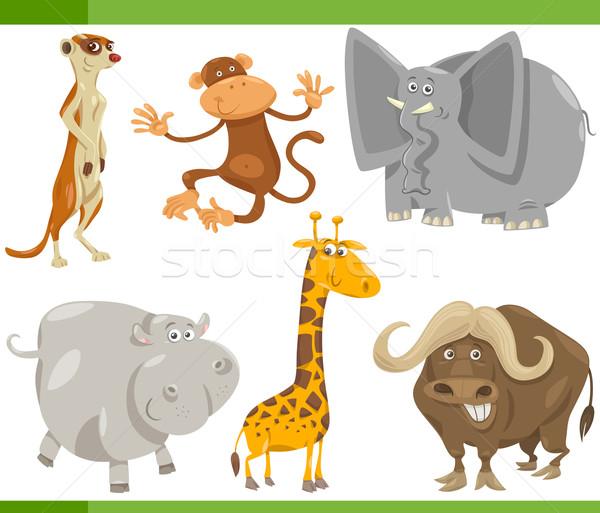 Safari dieren cartoon ingesteld illustratie grappig wild Stockfoto © izakowski