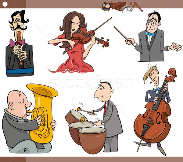 Zenészek betűk szett rajz illusztráció játszik Stock fotó © izakowski