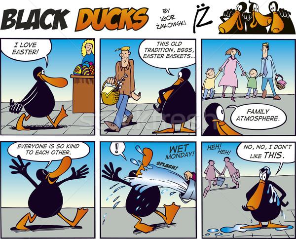 Zdjęcia stock: Czarny · komiks · wody · rodziny · ulicy