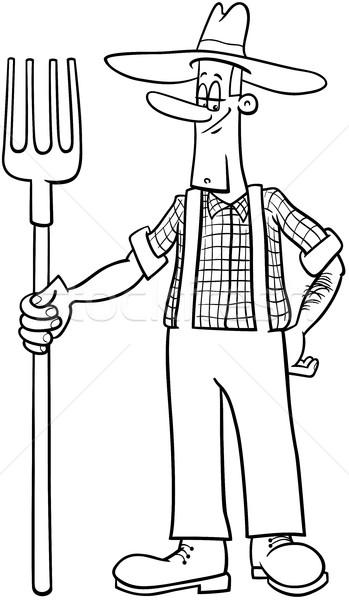 farmer cartoon coloring page Stock photo © izakowski