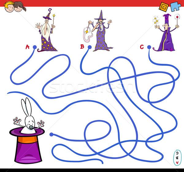 cartoon paths maze game with wizards Stock photo © izakowski