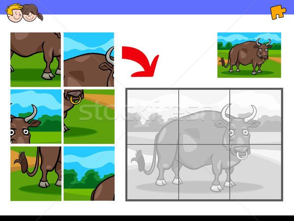 Fűrész bika haszonállat rajz illusztráció oktatási Stock fotó © izakowski