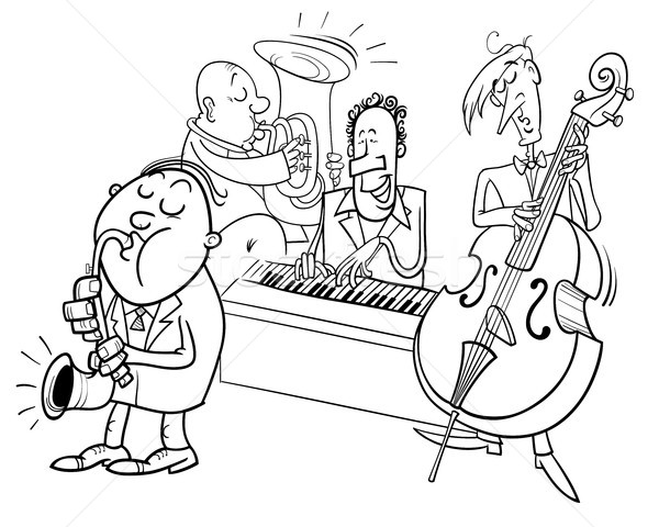 Músicos jugando jazz color libro Foto stock © izakowski