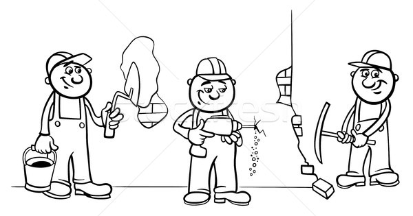 manual workers or builders group color book Stock photo © izakowski