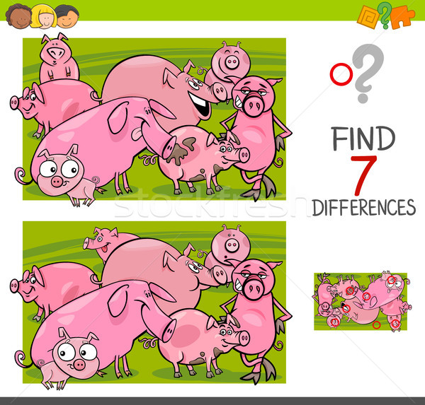 find differences with pigs farm animal characters Stock photo © izakowski