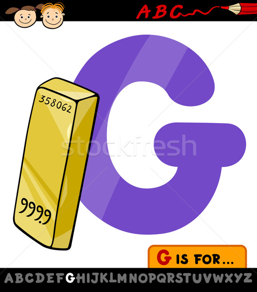 letter g with gold cartoon illustration Stock photo © izakowski