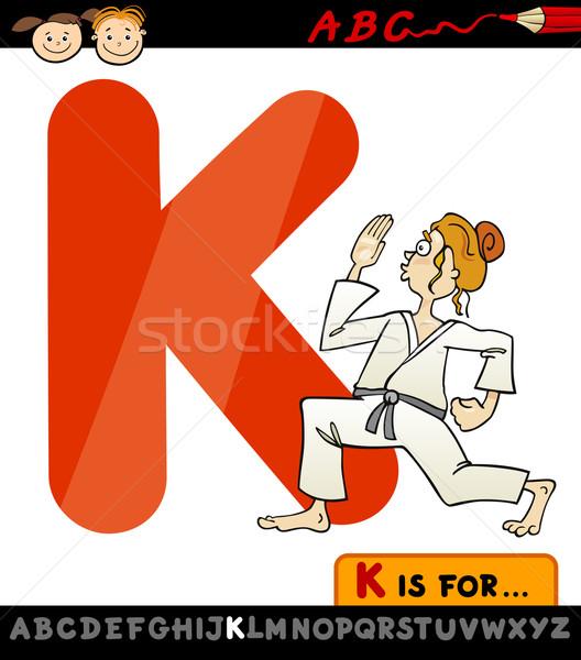 letter k with karate cartoon illustration Stock photo © izakowski