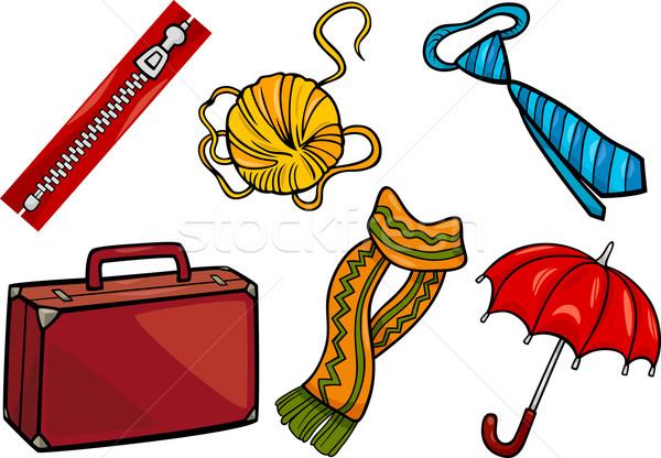 Kellékek tárgyak rajz illusztráció szett különböző Stock fotó © izakowski