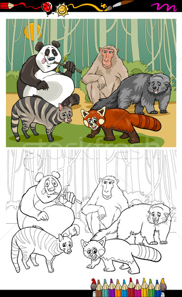 funny animals cartoon coloring book Stock photo © izakowski