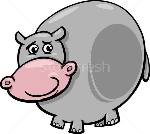 бегемот животного Cartoon иллюстрация смешные гиппопотам Сток-фото © izakowski
