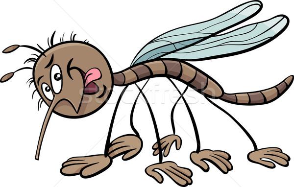 Zanzara carattere cartoon illustrazione insetto sorriso Foto d'archivio © izakowski