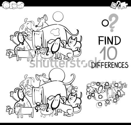 Farklılıklar görev siyah beyaz karikatür örnek Stok fotoğraf © izakowski