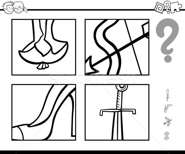 Odgadnąć obiektów kolorowanka czarno białe cartoon ilustracja Zdjęcia stock © izakowski
