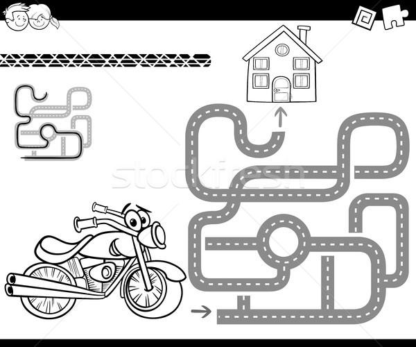 лабиринт велосипедов Cartoon иллюстрация образование лабиринт Сток-фото © izakowski