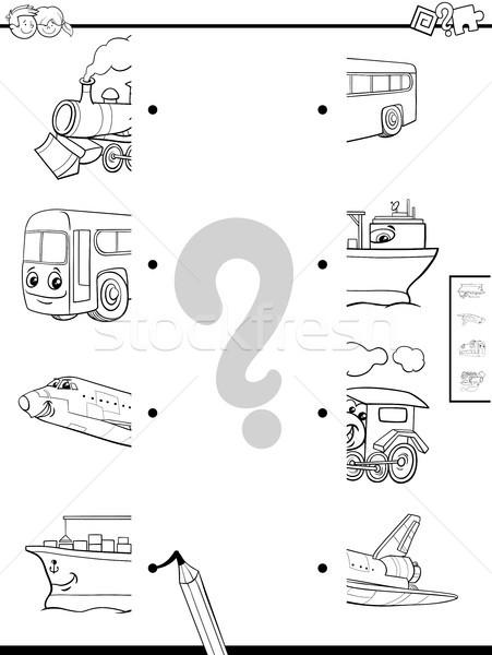 match vehicles halves coloring page Stock photo © izakowski