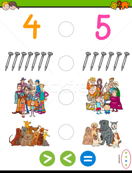 Menos igual matemáticas rompecabezas juego Cartoon Foto stock © izakowski