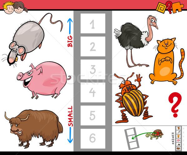 Stockfoto: Groot · klein · dieren · cartoon · spel · kinderen