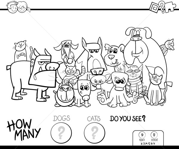 counting cats and dogs game color book Stock photo © izakowski