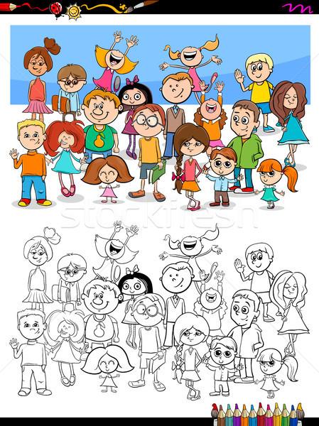 Mutlu Cocuklar Grup Boyama Kitabi Karikatur Vektor