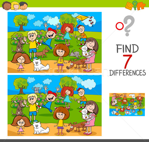 Bulmak farklılıklar çocuklar Evcil karikatür Stok fotoğraf © izakowski
