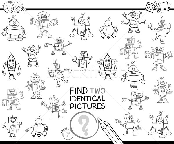 find two identical robots educational color book Stock photo © izakowski