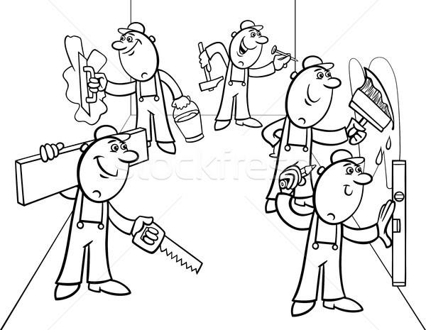 manual workers or decorators group color book Stock photo © izakowski