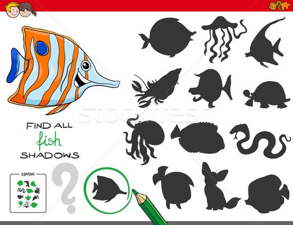 Educativo oscuridad juego peces Cartoon Foto stock © izakowski