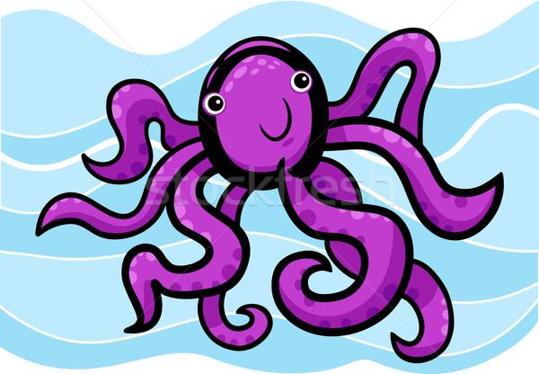Сток-фото: Cartoon · иллюстрация · Cute · осьминога · болван · синий