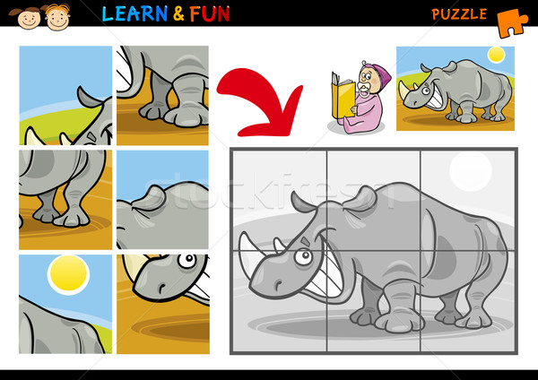 Cartoon rhinoceros puzzle game Stock photo © izakowski